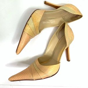 Guess Marciano pointed toe heels peach python